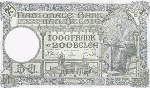 This 1943 note for 1,000 Belgian Francs or 2,000 Belgas shows a lace-maker at work. The buildings depicted are: in the middle the Cloth Hall of Ypres, in the left border the Gravensteen of Ghent ('castel of the count').