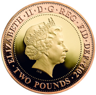 Great Britain / 2 GBP / 22 carat yellow gold (inner) and 22 carat red gold (outer) / 15.976 g / 28.40 mm / Design: Jonathan Olliffe (reverse) and Ian Rank-Broadley (obverse).
