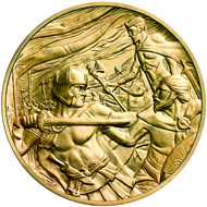 Masterpiece Medal in gold: .999 gold / 313 g (appr.) / 65 mm (appr.) / Design: Lee Robert Jones / Mintage: 25.