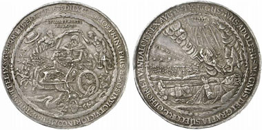 Commemorative coin valued at a double taler issued on the occasion of the translation of the remains of the Swedish king Gustav Adolf fallen in the Thirty Years' War. From Künker 206 (2012), 5407.