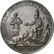 Innocent VIII (Pope 1484-1492). Bronze medal, no year (die after 1664 by G. Paladino). Rv. Cem prostrating himself in front of Innocent on the throne. Restrike from the 19th century. From Dogan Collection, Auction Gorny & Mosch 172 (2008), 6015.