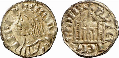 Sancho IV. of Castille and Leon, 1284-1295. Cornado, Coruña. Bust of the King l. Rv. Fort Castle between Star and Shell. From Künker Auction 137 (2008), 3435.
