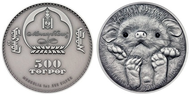 Mongolia / 500 Togrog / 1oz silver .999 / 38.61 mm / Mintage: 2,500 pieces.