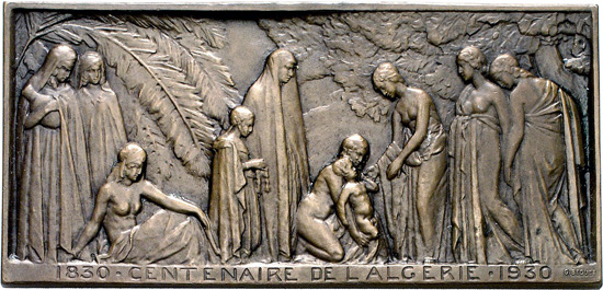 1930 bronze plaque by G. Beguet of the 100-year anniversary of Algeria's independence from the Ottoman Empire. Av: Fraternization of Algerian and French women and children. From the Dogan Collection, Gorny & Mosch auction 172 (2008), 6499.