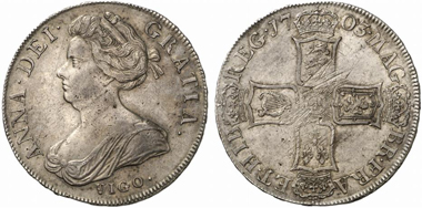 Anna. Crown 1703, London. Dav. 1338. From Künker auction 184 (2011), 5445.