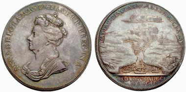 Anna. Silver medal 1702. Rv. Burning ships in the Vigo Harbour. From UBS auction 69 (2007), 2716.
