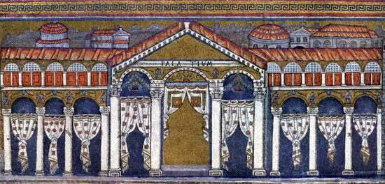 The palace of Theodoric in the mosaics of Sant'Apollinare Nuovo / Ravenna. Photo: The York Project / Wikipeda.