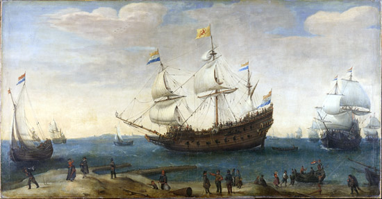 Hendrick Cornelisz Vroom, The Mauritius and other East Indiamen, c.1600-1630. Rijksmuseum Amsterdam.