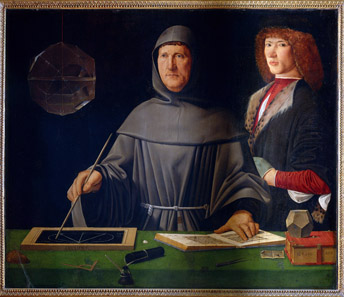 Jacopo de' Barbari, Portrait of the mathematician Luca Pacioli and an unkown young man, c.1500. Museo di Capodimonte, Naples. © 2012. Photo Scala, Florence - courtesy Ministero per i Beni e le Attività Culturali.