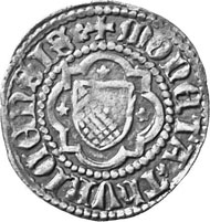 Zurich. Stamping of the city. Plappart, 1425-1440. Zurich coat of arms in a quatrefoil. Rev. Eagle.