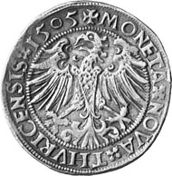 Zurich. Dicken 1505. The city's patron saints Felix and Regula, their severed heads in their hands. Rev. Eagle.