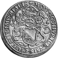 Zurich. Thaler undated, minted under mint master Hans Jakob I. Stampfer (Mint master 1558-1563). Two lions hold a coat of arms, an orb and a crown. Rev. Imperial eagle.