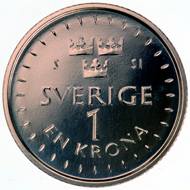Sweden's new 1-, 2- and 5-kron coins.