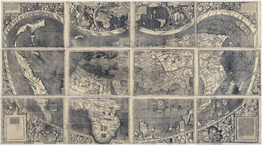 The world map of Martin Waldseemüller from 1507 indicated the recently discovered continent for the first time 'America.' Source: Wikipedia.