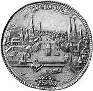 Zurich. 5 ducats 1720. Lion with sword and coat of arms cartouche walking towards the left. Rev. Zurich cityscape as seen from the water.