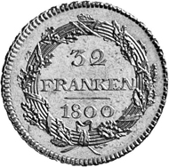 Zurich. Double doubloon of 32 francs, 1800, minted in Bern. From the front, a warrior, the flag of the Republic in his hand. Rev. 32 / FRANCS / 1800 in an oak wreath.