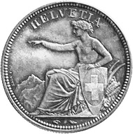 Swiss Confederacy. 5 francs 1850, minted in Paris. Helvetia with the Swiss coat of arms sits before an Alpine landscape. Rev. 5 Fr / 1850 in a wreath of oak leaves and Alpine flowers.