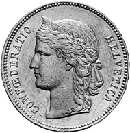 Swiss Confederacy. 20 francs 1888, minted in Bern. Female head facing left. Rev. Swiss coat of arms in a wreath of laurel and oak branches.