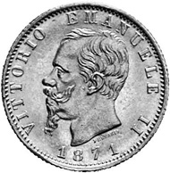 Italy. 20 lira 1871. Head of Vittorio Emanuele II. Rev. Crowned escutcheon between laurel wreaths.