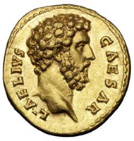 Aureus with the bust of Aelius Verus, Roman, 137 AD.