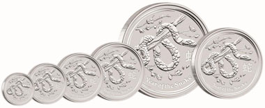 Australia / 9999 silver / Denominations: 0.5 AUD / 1/2oz / 15.591 g / 36.60 mm // 1 AUD / 1oz / 31.135 g / 45.60 mm / Mintage: 300,000 // 2 AUD / 2oz / 62.270 g / 55.60 mm // 8 AUD / 5oz / 155.673 g / 65.60 mm // 10 AUD / 10oz / 311.347 g / 85.60 mm // 30 AUD / 1 kilo / 1,001.002 g / 100.60 mm // 300 AUD / 10 kilo / 10,010.000 g / 221.00 mm / Mintage: 200. Mintage if not otherwise indicated: unlimited.