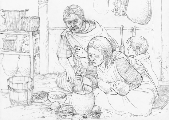 Middle of the 3rd century BC. A Celtic farmer is talking to his wife. Drawn by Dani Pelagatti / Atelier bunterhund. Copyright MoneyMuseum Zurich.