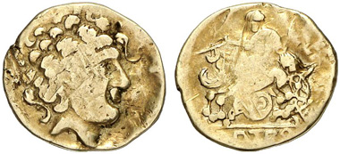 Celts. Helvetii. AV-1/4 stater, 2nd century BC. From Künker auction 204 (2012), 77.