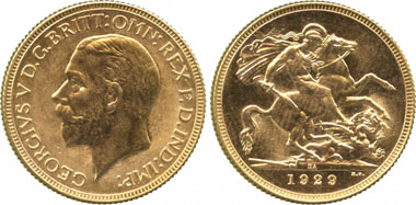 927: Colonial Gold Issues. SOUTH AFRICA. Branch Mint of the Royal Mint at Pretoria South Africa. The Excessively Rare South African Proof Sovereign of 1929 Small Head. George V, Proof Sovereign, 1929 SA, Pretoria, South Africa mint. Estimate: 12,000-15,000 GBP. Realized: 44,000 GBP.