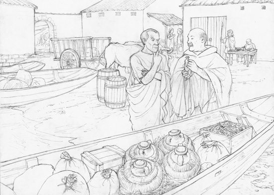 The end of the 2nd century AD. Marcus, a Roman trader, is declaring his cargo at the customs station of Turicum and gets into a conversation with Unio, the Roman customs official. Drawn by Dani Pelagatti / Atelier bunterhund. Copyright MoneyMuseum Zurich.