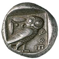 Athens. Tetrachdrachm, c. 450 B. C. Head of the goddess Athena. Rev. owl r. Photograph MoneyMuseum Zurich.