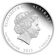 Australia / 999 silver / Denominations: 0.50 AUD / 1/2oz / 15.573 g / 36.60 mm // 1 AUD / 1oz / 31.135 g / 45.60 mm / Mintage: 5,000 // 2 AUD / 2oz / 62.270 g / 55.60 mm // 30 AUD / 1 kilo 999 silver / 1003.002 g / 100.60 mm / Mintage: 500. The 2oz, 1oz and 1/2oz coins are available in a Three-coin-set limited to 1,000 pieces.