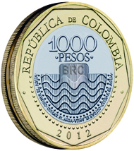 The 1,000 Peso coin has been re-introduced with new security features since it was once heavily counterfeited. Courtesy of the Central Bank of Colombia.