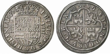 Felipe II (1556-1598). 8 Reales 1589, Segovia. From Künker Auction 188 (2011), 342.