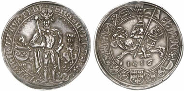 Sigismund the Wealthy (1446-1496). Guldiner 1486, Hall. From Künker Auction 201 (2012), 379.