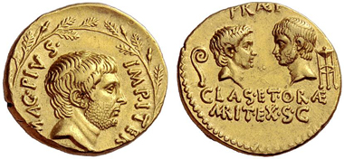 105: Aureus, Sextus Pompey. Estimate: CHF 100,000. Realized: CHF 240,000.
