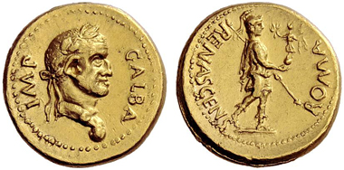 127: Aureus, Galba. Estimate: CHF 100,000. Realized: CHF 280,000.