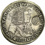ANTON, 1686-1693, as guardian for his nephew ANTON THE YOUNGER. Gulden 1690. Head and shoulders portrait with robe. Rv. Crowned shield of arms between branches; beneath FJ 16 (60) 90 G, with countermark of the Franconian Circle. Ebner 127. Münzen & Medaillen GmbH upcoming sale 37 on November 23, 2012, No 362.