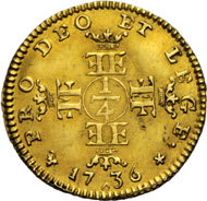 ERNST, 1730-1758. Quarter Karolin 1736. 3/4 length portrait r. Rv. Cross formed from two crowned double-Es and two crowned double-Fs, in the centre mark of denomination 1/4. Ebner 293. Münzen & Medaillen GmbH upcoming sale 37 on November 23, 2012, No 469.