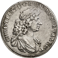 2954: NORWAY. Christian V (1670-1699). Thick, quadruple speziesthaler, 1680. Dav. A 3654. Of greatest rarity, very fine. Estimate: 50,000 EUR. Final Price: 130,000 EUR.