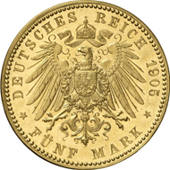 6170: WURTEMBERG. William II (1891-1918). 5 marks, 1905. J. 176. Of great rarity, PP. Estimate: 10,000 EUR. Final Price: 26,000 EUR.