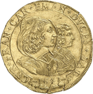 This spectacular 10-écu piece comes up for auction at Numismatica Genevensis on November 28, 2012. Its opening price is 150,000 francs.