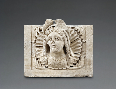 Building relief from the Nabataean temple of Khirbet et-Tannur: bust of a so-called fish-goddess, limestone, first century CE (Amman, Citadel Museum). Photo: Andreas Voegelin, Antikenmuseum Basel. Property of the Department of Antiquities, Jordan.