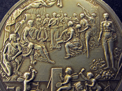 Detail of a silver medal by Nikolaus Seeländer showing an allegory of how the Gotha coin cabinet was installed by Duke Fredrick II, 1713. Photo: KW.
