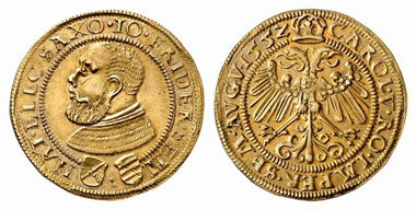 John Frederick I 'The Magnanimous' when he was still a duke, 1552-1554. Double gulden, 1552, Saalfeld. From Künker auction 100 (2005), 451.