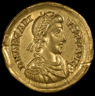 One of the solidi issued for Arcadius from the western mint of Milan. (c) St Albans Museums Service.