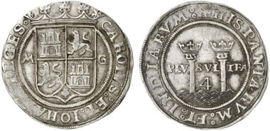Charles V and Joanna of Castilia, 1504-1555. 4 Reales no year (1542/1555). The inscription refers to the unity of Spain and the dominion in the New World: