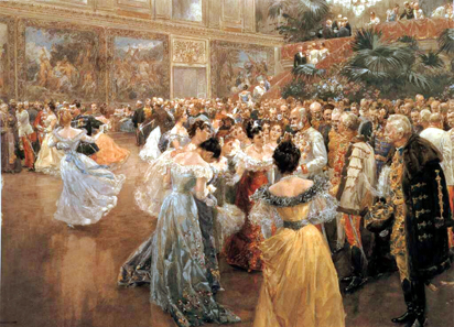 A ball at the imperial court in Vienna, by Wilhelm Gause, 1900. Historisches Museum der Stadt Wien. Source: Wikipedia.