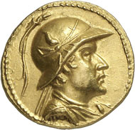 286: Eucratides (Bactria), 171-135. Gold stater, Merv. Mitch. Type 176var. Oikonomedes (1968), Group B. Rare and extremely fine. Estimate: 100,000 CHF. Hammer price: 170,000 CHF.