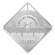 Latvia / 1 lats / Face value: 1 lats / 32.00 x 32.00 mm / 26 g / Design: Kristaps Gelzis / Mintage: 3,000.