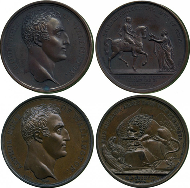 Medal to the invasion of Wellington in Pamplona, 1813, and medal to the Battle of the Pyrenees in the same year. From Baldwin auction 212 (2012), 303.